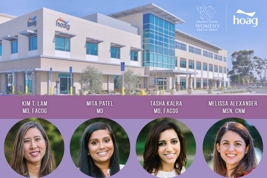 The new Orange Coast Women's Medical Group office located at Hoag Health Center in Tustin Legacy with images of each doctor who will be moving to the practice.